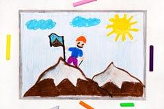 Dibujo: Alcanzar la cumbre de una monta?a ilustración del vector