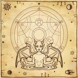 Dibujo alquímico: pequeño demonio, círculo de un homúnculo Esotérico, místico, ocultismo stock de ilustración