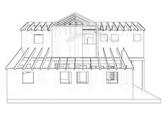 Dibujo arquitectónico abstracto 3D del edificio de apartamentos Vector creado de 3d stock de ilustración
