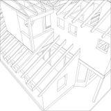 Dibujo arquitectónico abstracto 3D del edificio de apartamentos Vector creado de 3d ilustración del vector