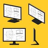 Dibujo arquitectónico de la pantalla de ordenador stock de ilustración