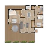 Dibujo arquitectónico de una casa privada con la cocina, los dormitorios, la sala de estar, el comedor, el cuarto de baño y los m stock de ilustración