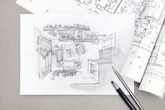 Dibujo arquitectónico del bosquejo a pulso de la sala de estar con el lápiz Imágenes de archivo libres de regalías
