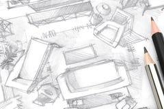Dibujo arquitectónico del bosquejo a pulso de la sala de estar con los lápices Imágenes de archivo libres de regalías