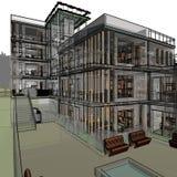 Dibujo arquitectónico y perspectiva stock de ilustración