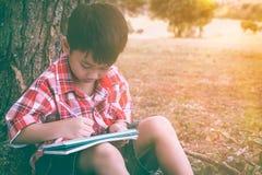 Dibujo asiático del niño en parque nacional el vacaciones Educación concentrada Imágenes de archivo libres de regalías