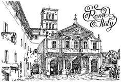 Dibujo blanco y negro de la mano del bosquejo del citysca famoso de Roma Italia stock de ilustración