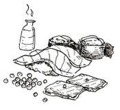 Mano japonesa de la comida dibujada Fotos de archivo