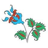 Dibujo color de rosa del estilo de Iznik stock de ilustración