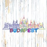Dibujo colorido de Budapest en fondo de madera ilustración del vector