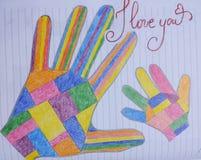 Dibujo colorido de la mano de la madre y del niño Imagenes de archivo