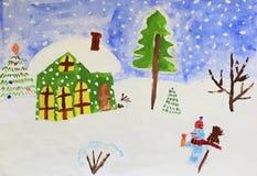 Dibujo colorido de las casas que se colocan en las colinas y las nevadas nevosas imagen de archivo libre de regalías