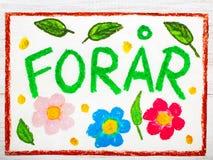 Dibujo colorido: El danés redacta la primavera de ForÃ¥r Fotos de archivo
