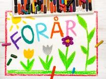 Dibujo colorido: El danés redacta la primavera de ForÃ¥r Foto de archivo libre de regalías