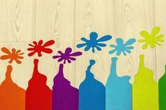 Dibujo colorido en piso laminado Concepto de diseño - imagen imagen de archivo libre de regalías