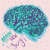 Dibujo colorido hermoso de un cerebro con una escritura stock de ilustración