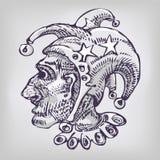 Dibujo con el arlequín y la cabeza Imágenes de archivo libres de regalías