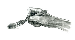 Dibujo con un cepillo Foto de archivo