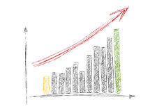 Dibujo creciente de la mano del gráfico con la flecha aislada encendido Imagen de archivo