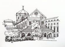 Dibujo de bosquejo blanco y negro del paisaje urbano de Roma libre illustration