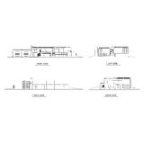 Dibujo de bosquejo de la arquitectura del edificio Imagen de archivo