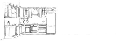 Dibujo de bosquejo de la cocina clásica 3d interior Fotos de archivo libres de regalías