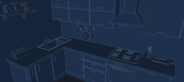 Dibujo de bosquejo de las líneas blancas interiores de la cocina de la esquina contemporánea 3d en fondo azul Foto de archivo libre de regalías