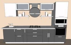 Dibujo de bosquejo del interior moderno gris de la cocina 3d con las puertas redondas de la capilla y del vidrio de armarios Foto de archivo libre de regalías
