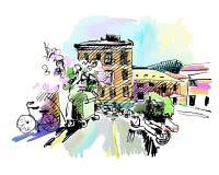 Dibujo de bosquejo del paisaje del pueblo de Italia ilustración del vector