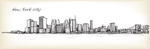 Dibujo de bosquejo del scape de la ciudad en New York City, ejemplo del vector libre illustration