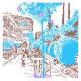 Dibujo de bosquejo de Digitaces del viejo paisaje urbano de la ciudad en Antalya, Tyrkey ilustración del vector