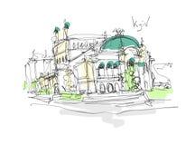 Dibujo de bosquejo minimalistic de Digitaces del teatro de la ópera y de ballet Imágenes de archivo libres de regalías
