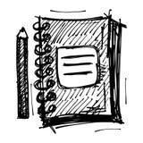 Dibujo de bosquejo negro del cuaderno Foto de archivo