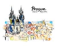 Dibujo de bosquejo a pulso de la acuarela del top de la República Checa de Praga stock de ilustración