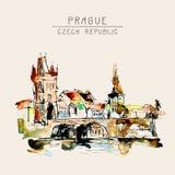 Dibujo de bosquejo a pulso de la acuarela del top de la República Checa de Praga libre illustration