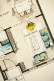 Dibujo de bosquejo a pulso de la acuarela y de la tinta de la sala de estar plana del plan de piso del apartamento, simbolizando  Fotos de archivo libres de regalías