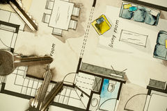 Dibujo de bosquejo a pulso de la acuarela y de la tinta del plan de piso plano del apartamento Fotografía de archivo