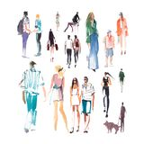 Dibujo de bosquejo rápido del ejemplo de la acuarela de la gente que camina, pintura de la velocidad ilustración del vector