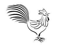 Dibujo de cepillo chino del pollo Imagen de archivo libre de regalías