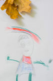 Dibujo de Childs de una muchacha Foto de archivo