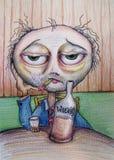 Dibujo de consumición de la historieta del whisky del hombre stock de ilustración