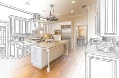 Dibujo de estudio de encargo de la cocina y combinación de la foto de Gradated ilustración del vector