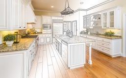 Dibujo de estudio de encargo de la cocina y combinación de la foto de Gradated stock de ilustración