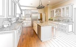 Dibujo de estudio de encargo de la cocina y combinación de la foto de Gradated libre illustration