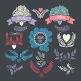 Dibujo de FramesHand Conjunto de elementos del diseño de la vendimia Ramitas, corazones, invitaciones stock de ilustración