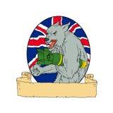 Dibujo de Grey Wolf Holding Bomb Union Jack stock de ilustración