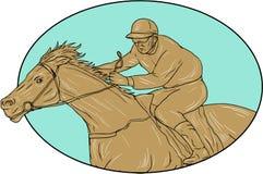 Dibujo de Horse Racing Oval del jinete stock de ilustración