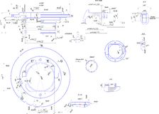 Dibujo de ingeniería del equipo industrial Imagen de archivo