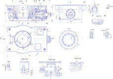 Dibujo de ingeniería del equipo industrial Foto de archivo libre de regalías