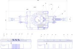 Dibujo de ingeniería del equipo industrial Imágenes de archivo libres de regalías